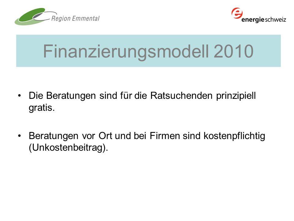 Finanzierungsmodell 2010 Die Beratungen sind für die Ratsuchenden prinzipiell gratis. Beratungen vor Ort und bei Firmen sind kostenpflichtig (Unkosten