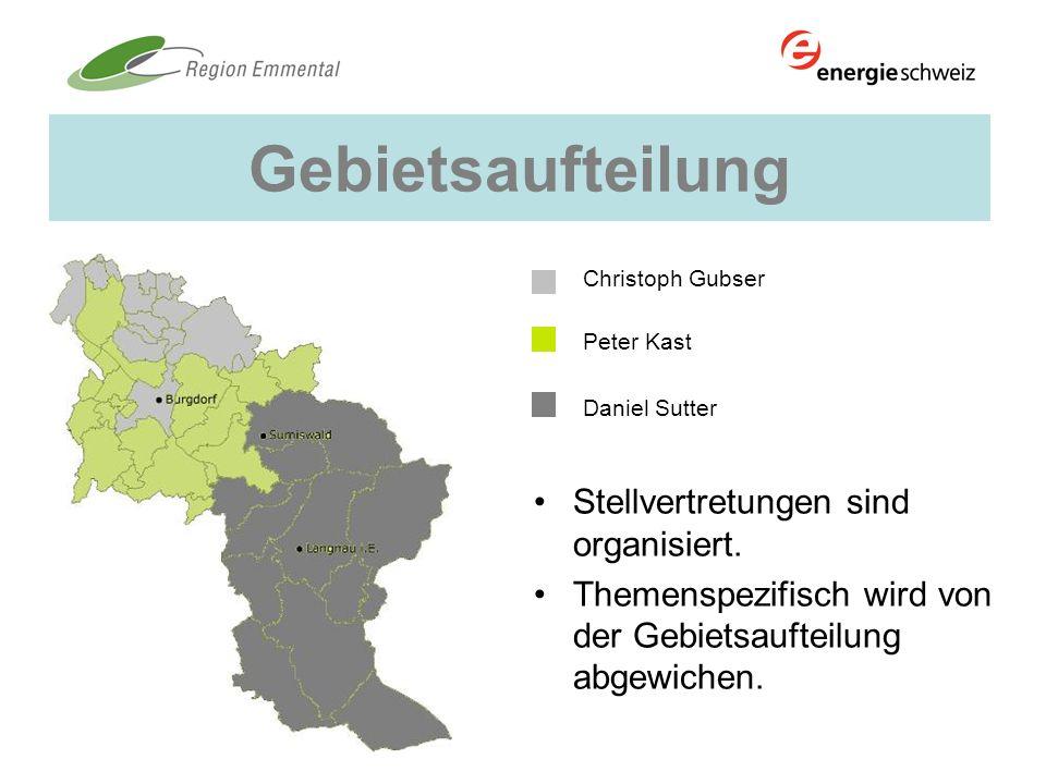 Gebietsaufteilung Christoph Gubser Peter Kast Daniel Sutter Stellvertretungen sind organisiert. Themenspezifisch wird von der Gebietsaufteilung abgewi
