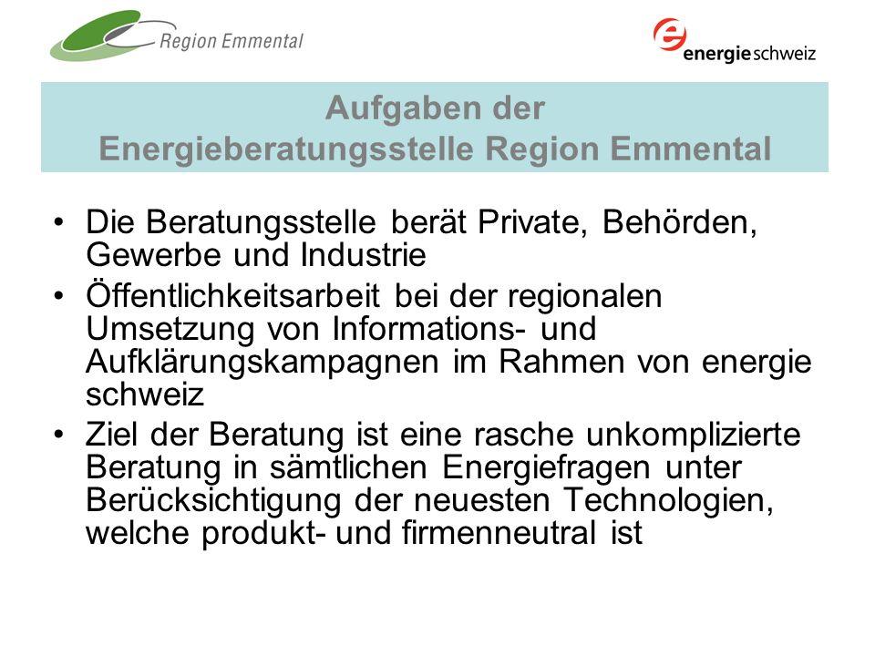 Aufgaben der Energieberatungsstelle Region Emmental Die Beratungsstelle berät Private, Behörden, Gewerbe und Industrie Öffentlichkeitsarbeit bei der r