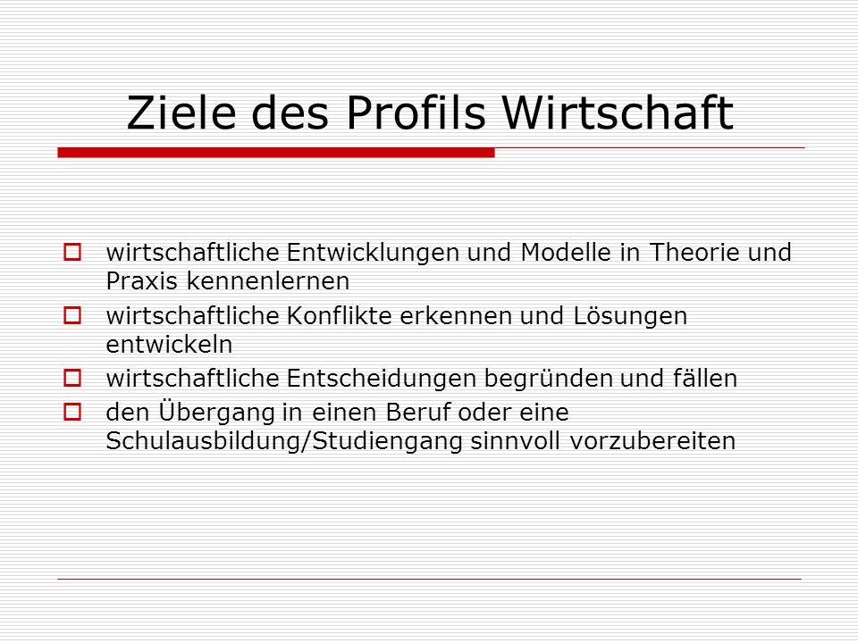 Ziele des Profils Wirtschaft wirtschaftliche Entwicklungen und Modelle in Theorie und Praxis kennenlernen wirtschaftliche Konflikte erkennen und Lösun