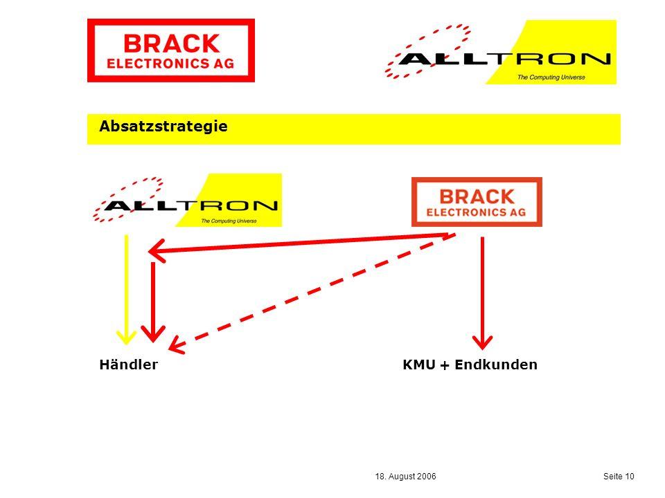 18. August 2006 Seite 10 Absatzstrategie Händler KMU + Endkunden
