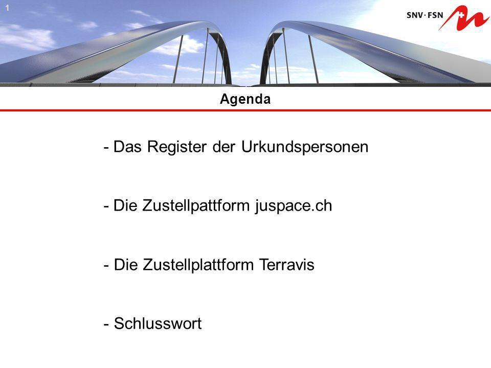 Agenda 41 - Das Register der Urkundspersonen - Die Zustellpattform juspace.ch - Die Zustellplattform Terravis - Schlusswort