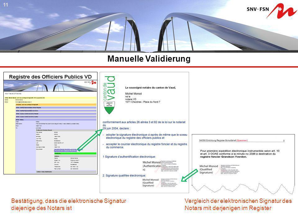Manuelle Validierung 11 Bestätigung, dass die elektronische Signatur diejenige des Notars ist Vergleich der elektronischen Signatur des Notars mit der