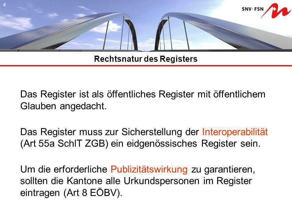 Rechtsnatur des Registers 44 Das Register ist als öffentliches Register mit öffentlichem Glauben angedacht. Das Register muss zur Sicherstellung der I