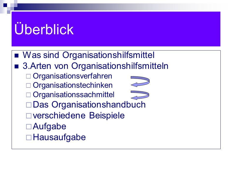 Überblick Was sind Organisationshilfsmittel 3.Arten von Organisationshilfsmitteln Organisationsverfahren Organisationstechinken Organisationssachmitte