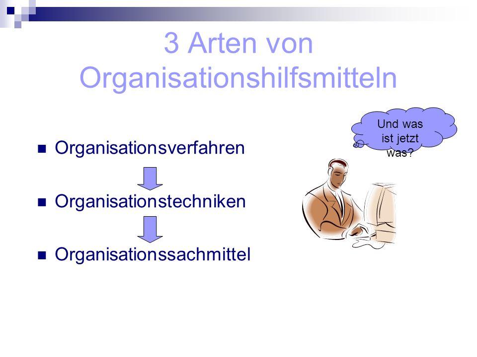 3 Arten von Organisationshilfsmitteln Organisationsverfahren Organisationstechniken Organisationssachmittel Und was ist jetzt was?