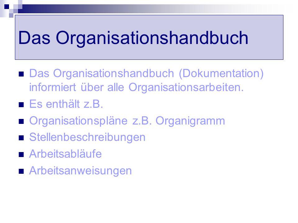 Das Organisationshandbuch Das Organisationshandbuch (Dokumentation) informiert über alle Organisationsarbeiten. Es enthält z.B. Organisationspläne z.B