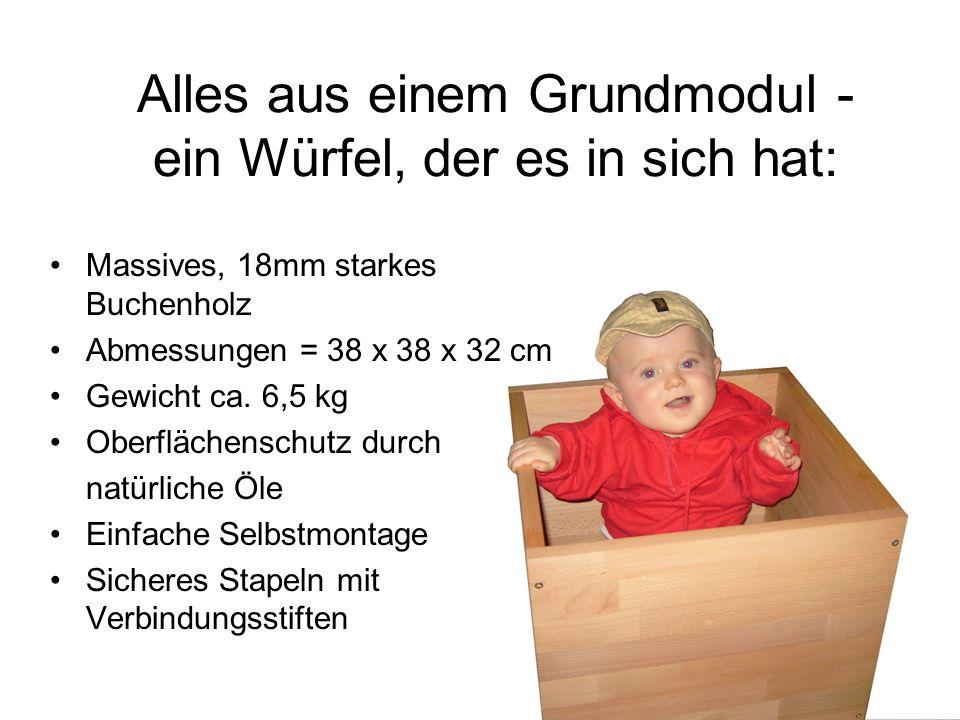 Alles aus einem Grundmodul - ein Würfel, der es in sich hat: Massives, 18mm starkes Buchenholz Abmessungen = 38 x 38 x 32 cm Gewicht ca. 6,5 kg Oberfl