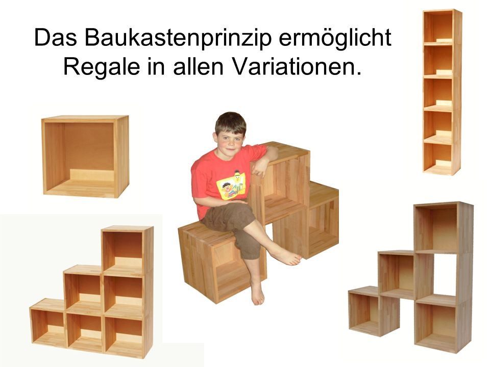 Das Baukastenprinzip ermöglicht Regale in allen Variationen.
