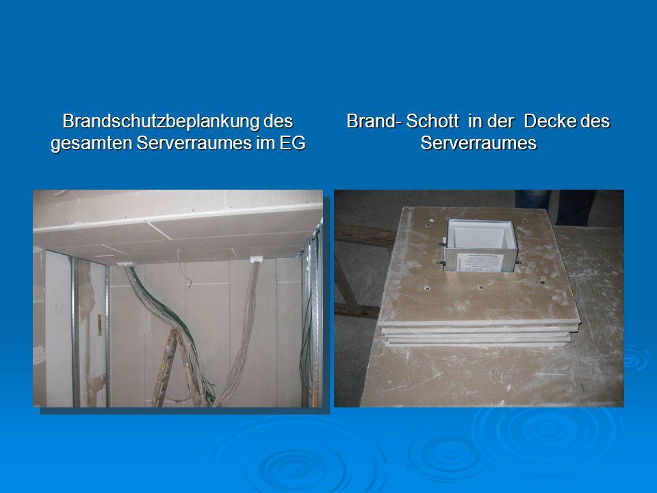 Brandschutzbeplankung des gesamten Serverraumes im EG Brand- Schott in der Decke des Serverraumes