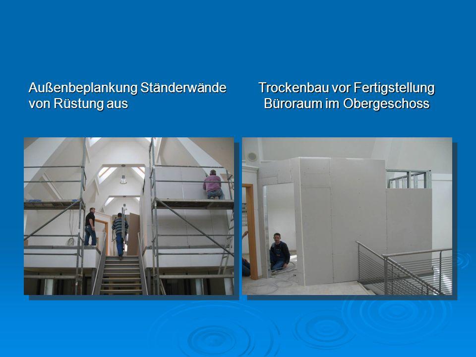 Außenbeplankung Ständerwände von Rüstung aus Trockenbau vor Fertigstellung Büroraum im Obergeschoss