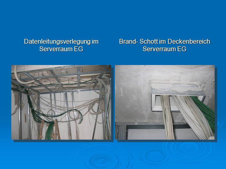 Datenleitungsverlegung im Serverraum EG Brand- Schott im Deckenbereich Serverraum EG