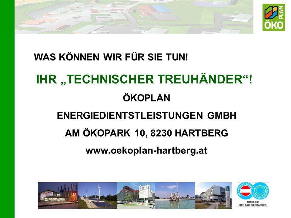 WAS KÖNNEN WIR FÜR SIE TUN! IHR TECHNISCHER TREUHÄNDER! ÖKOPLAN ENERGIEDIENTSTLEISTUNGEN GMBH AM ÖKOPARK 10, 8230 HARTBERG www.oekoplan-hartberg.at