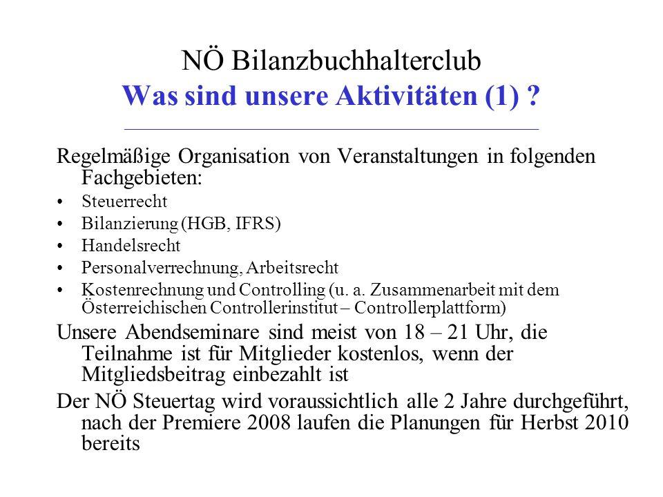 NÖ Bilanzbuchhalterclub Was sind unsere Aktivitäten (2) .