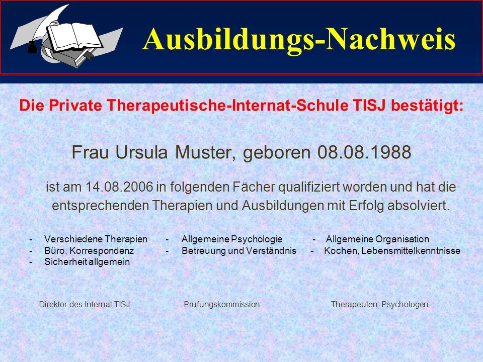 Ausbildungsabschluss Die Teilnehmerinnen und Teilnehmer erhalten einen Ausbildungsnachweis.
