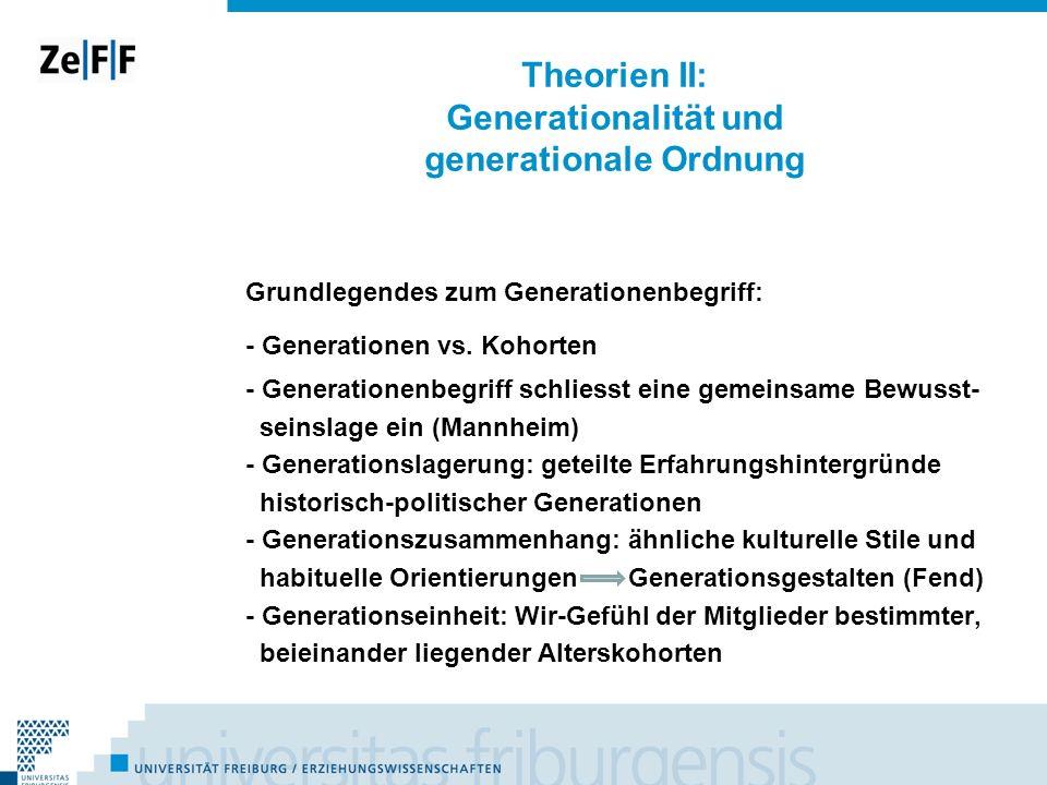 Theorien II: Generationalität und generationale Ordnung Grundlegendes zum Generationenbegriff: - Generationen vs. Kohorten - Generationenbegriff schli