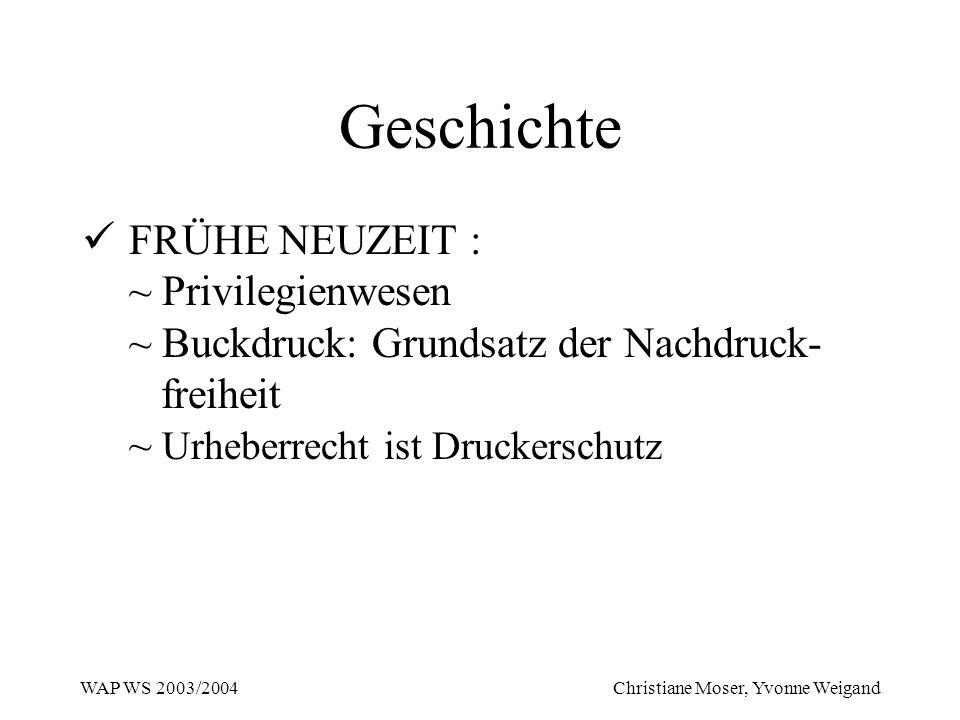 WAP WS 2003/2004 Christiane Moser, Yvonne Weigand Geschichte FRÜHE NEUZEIT : ~ Privilegienwesen ~ Buckdruck: Grundsatz der Nachdruck- freiheit ~ Urheb