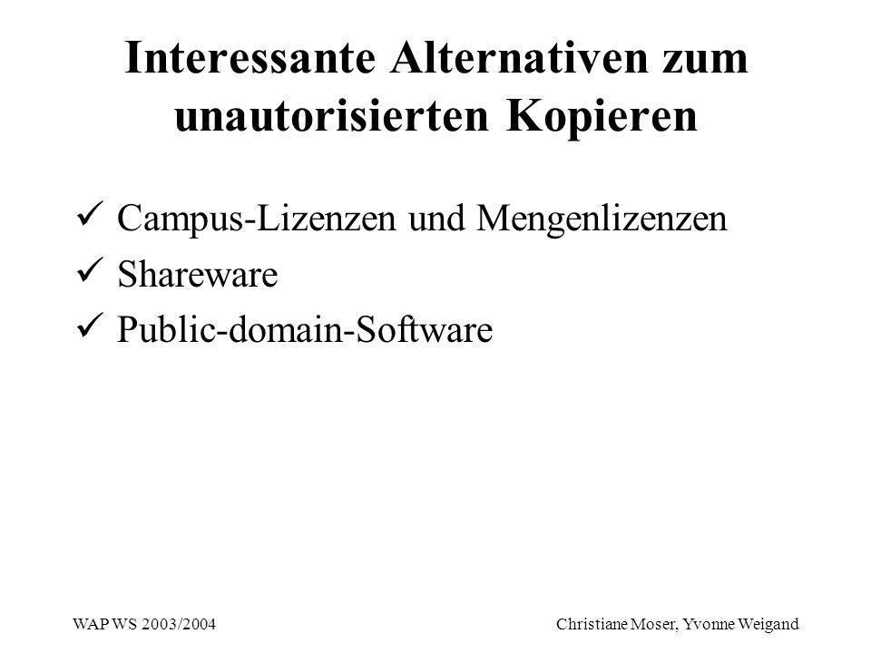 WAP WS 2003/2004 Christiane Moser, Yvonne Weigand Interessante Alternativen zum unautorisierten Kopieren Campus-Lizenzen und Mengenlizenzen Shareware