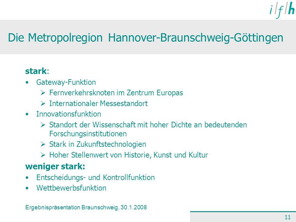 Ergebnispräsentation Braunschweig, 30.1.2008 11 Die Metropolregion Hannover-Braunschweig-Göttingen stark: Gateway-Funktion Fernverkehrsknoten im Zentr