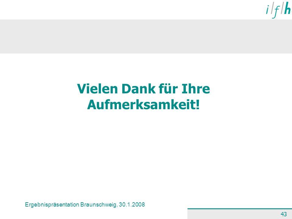 Ergebnispräsentation Braunschweig, 30.1.2008 43 Vielen Dank für Ihre Aufmerksamkeit!