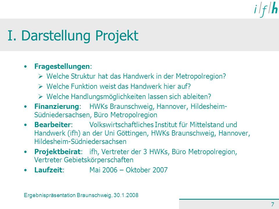 Ergebnispräsentation Braunschweig, 30.1.2008 7 I. Darstellung Projekt Fragestellungen: Welche Struktur hat das Handwerk in der Metropolregion? Welche