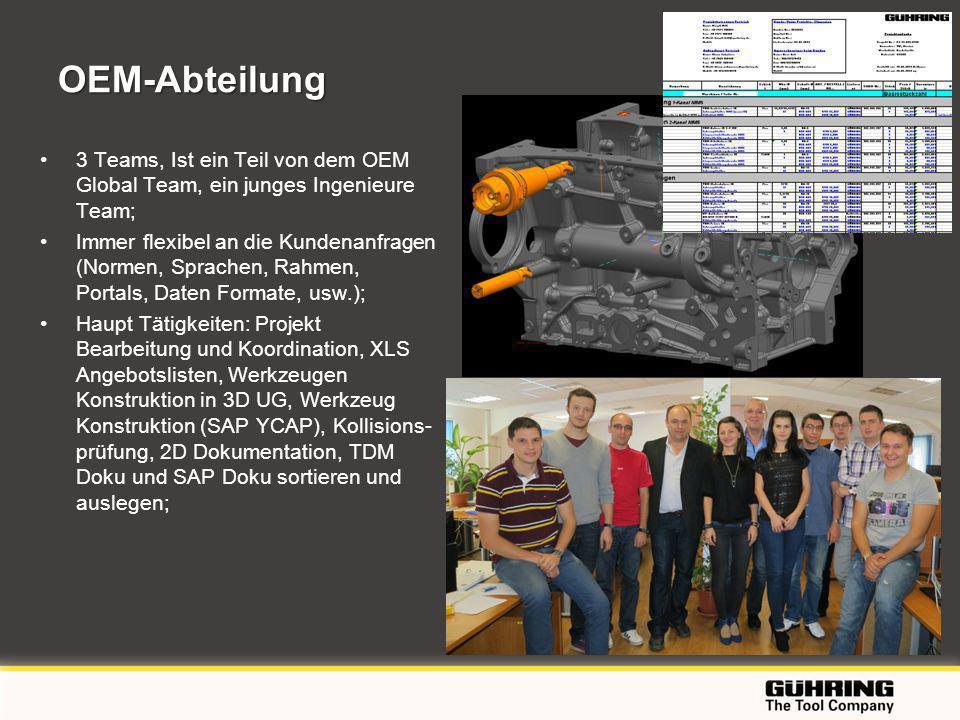 EMO 2009 - Milano OEM-Abteilung 3 Teams, Ist ein Teil von dem OEM Global Team, ein junges Ingenieure Team; Immer flexibel an die Kundenanfragen (Normen, Sprachen, Rahmen, Portals, Daten Formate, usw.); Haupt Tätigkeiten: Projekt Bearbeitung und Koordination, XLS Angebotslisten, Werkzeugen Konstruktion in 3D UG, Werkzeug Konstruktion (SAP YCAP), Kollisions- prüfung, 2D Dokumentation, TDM Doku und SAP Doku sortieren und auslegen;