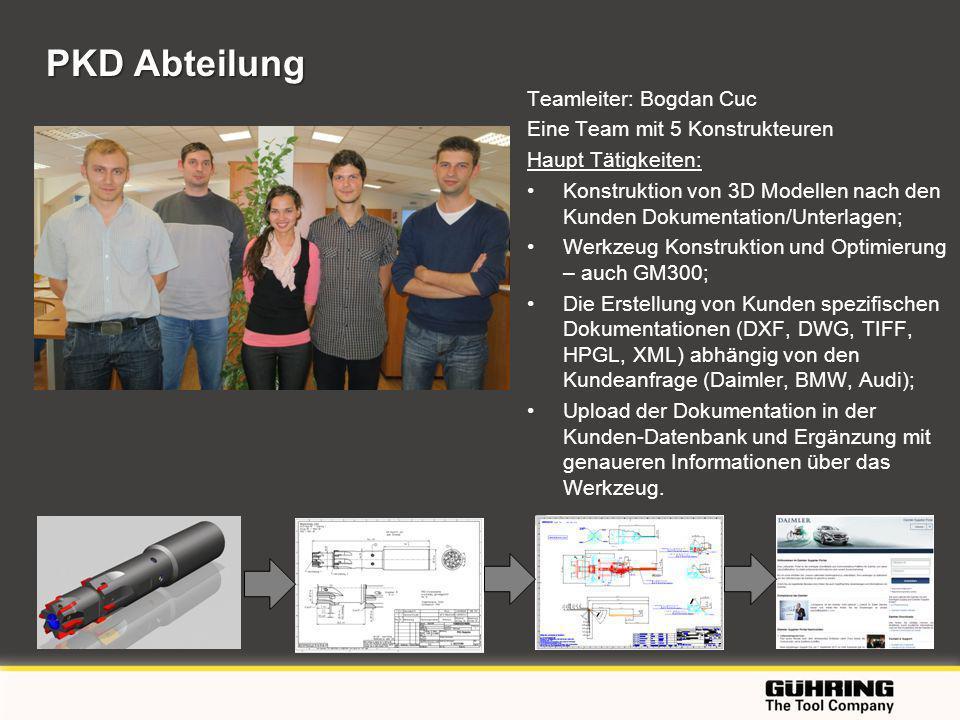 EMO 2009 - Milano PKD Abteilung Teamleiter: Bogdan Cuc Eine Team mit 5 Konstrukteuren Haupt Tätigkeiten: Konstruktion von 3D Modellen nach den Kunden Dokumentation/Unterlagen; Werkzeug Konstruktion und Optimierung – auch GM300; Die Erstellung von Kunden spezifischen Dokumentationen (DXF, DWG, TIFF, HPGL, XML) abhängig von den Kundeanfrage (Daimler, BMW, Audi); Upload der Dokumentation in der Kunden-Datenbank und Ergänzung mit genaueren Informationen über das Werkzeug.