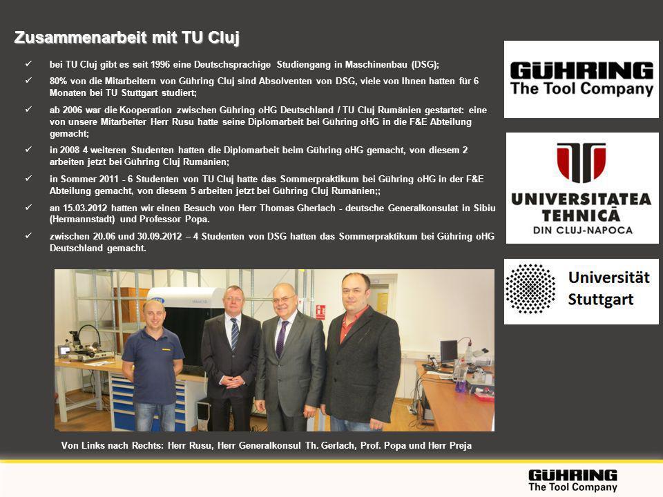 EMO 2009 - Milano bei TU Cluj gibt es seit 1996 eine Deutschsprachige Studiengang in Maschinenbau (DSG); 80% von die Mitarbeitern von Gühring Cluj sind Absolventen von DSG, viele von Ihnen hatten für 6 Monaten bei TU Stuttgart studiert; ab 2006 war die Kooperation zwischen Gühring oHG Deutschland / TU Cluj Rumänien gestartet: eine von unsere Mitarbeiter Herr Rusu hatte seine Diplomarbeit bei Gühring oHG in die F&E Abteilung gemacht; in 2008 4 weiteren Studenten hatten die Diplomarbeit beim Gühring oHG gemacht, von diesem 2 arbeiten jetzt bei Gühring Cluj Rumänien; in Sommer 2011 - 6 Studenten von TU Cluj hatte das Sommerpraktikum bei Gühring oHG in der F&E Abteilung gemacht, von diesem 5 arbeiten jetzt bei Gühring Cluj Rumänien;; an 15.03.2012 hatten wir einen Besuch von Herr Thomas Gherlach - deutsche Generalkonsulat in Sibiu (Hermannstadt) und Professor Popa.