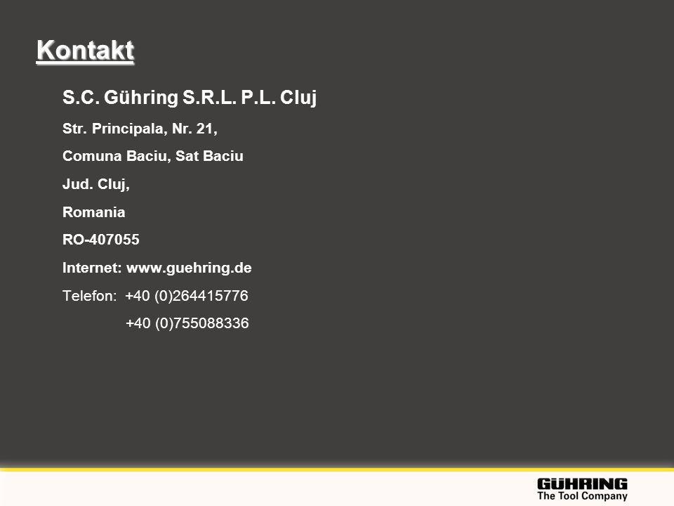 EMO 2009 - Milano S.C. Gühring S.R.L. P.L. Cluj Str. Principala, Nr. 21, Comuna Baciu, Sat Baciu Jud. Cluj, Romania RO-407055 Internet: www.guehring.d