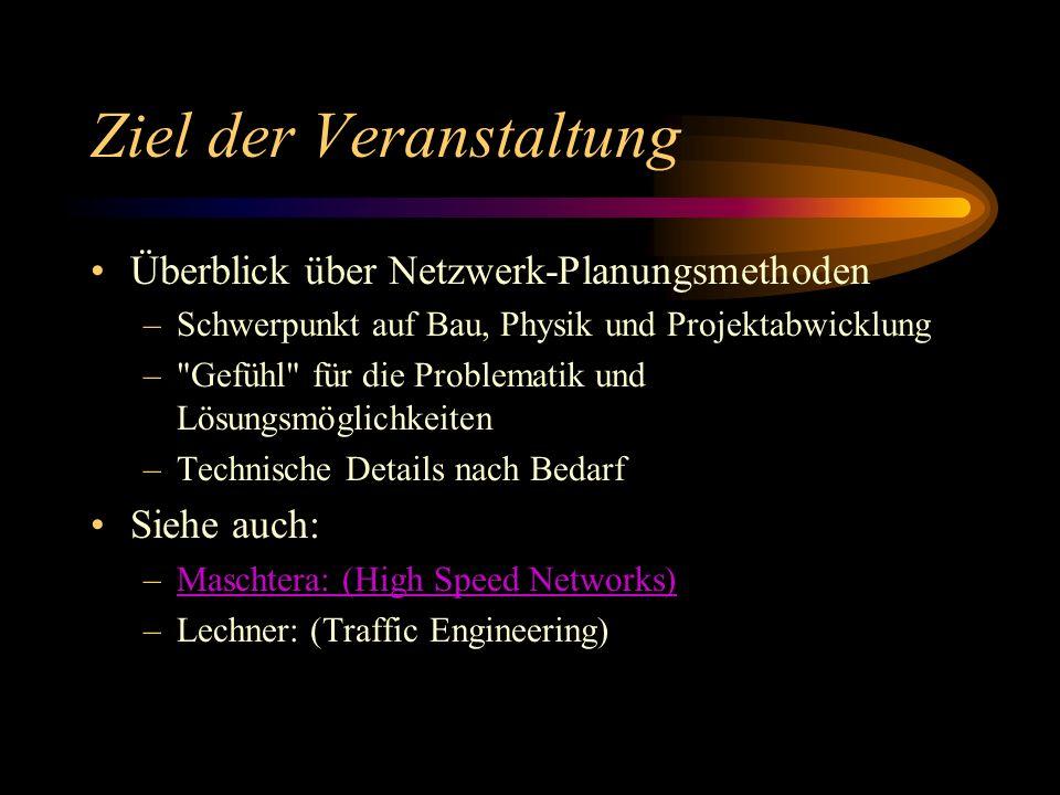 Ziel der Veranstaltung Überblick über Netzwerk-Planungsmethoden –Schwerpunkt auf Bau, Physik und Projektabwicklung – Gefühl für die Problematik und Lösungsmöglichkeiten –Technische Details nach Bedarf Siehe auch: –Maschtera: (High Speed Networks)Maschtera: (High Speed Networks) –Lechner: (Traffic Engineering)