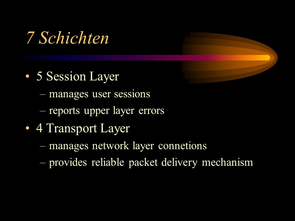 7 Schichten 5 Session Layer –manages user sessions –reports upper layer errors 4 Transport Layer –manages network layer connetions –provides reliable packet delivery mechanism