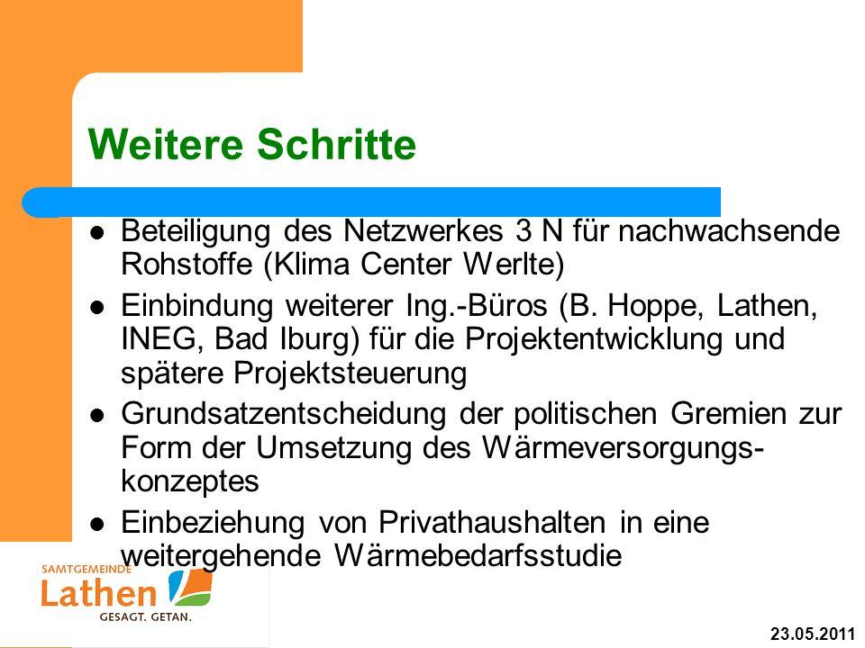 Weitere Schritte Beteiligung des Netzwerkes 3 N für nachwachsende Rohstoffe (Klima Center Werlte) Einbindung weiterer Ing.-Büros (B. Hoppe, Lathen, IN