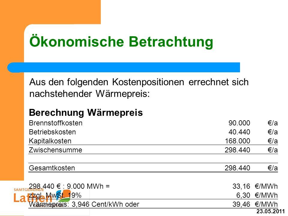 Ökonomische Betrachtung Aus den folgenden Kostenpositionen errechnet sich nachstehender Wärmepreis: Berechnung Wärmepreis Brennstoffkosten90.000/a Bet