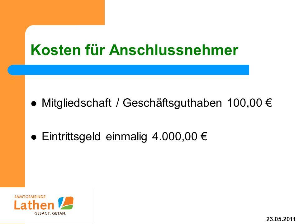 Kosten für Anschlussnehmer Mitgliedschaft / Geschäftsguthaben 100,00 Eintrittsgeld einmalig 4.000,00 23.05.2011