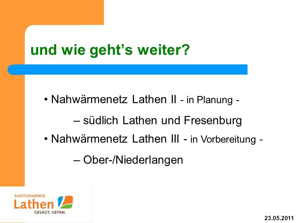 und wie gehts weiter? Nahwärmenetz Lathen II - in Planung - – südlich Lathen und Fresenburg Nahwärmenetz Lathen III - in Vorbereitung - – Ober-/Nieder