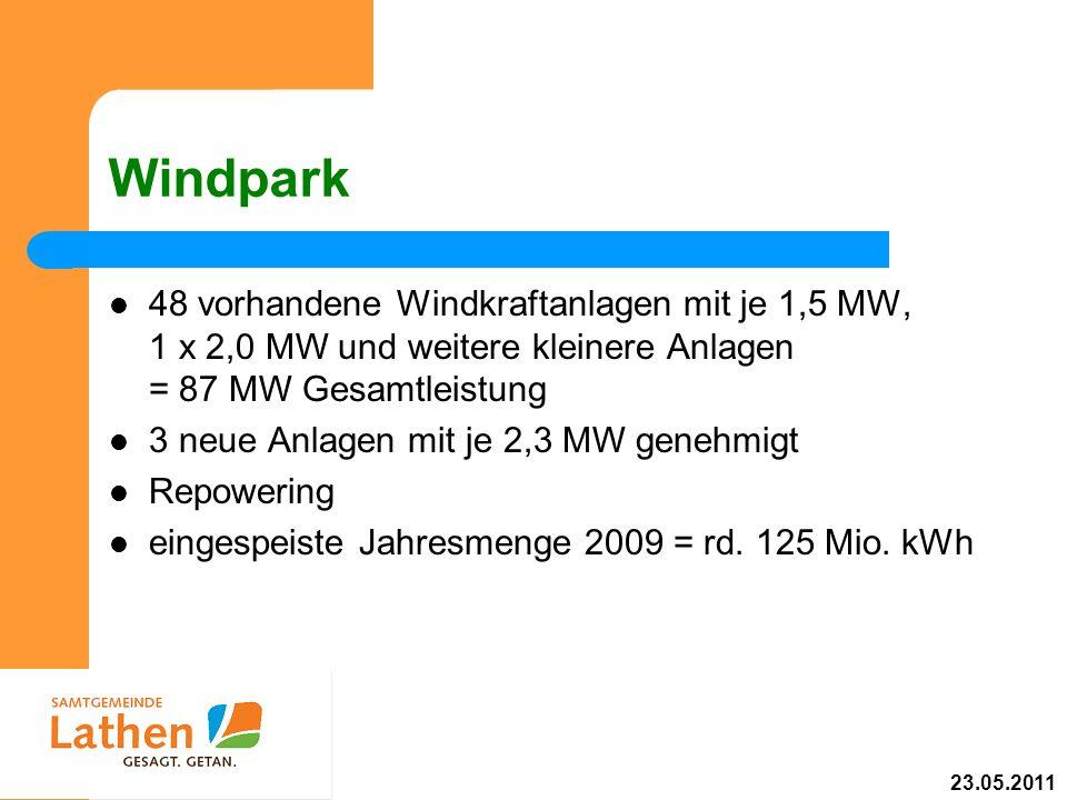 Windpark 48 vorhandene Windkraftanlagen mit je 1,5 MW, 1 x 2,0 MW und weitere kleinere Anlagen = 87 MW Gesamtleistung 3 neue Anlagen mit je 2,3 MW gen