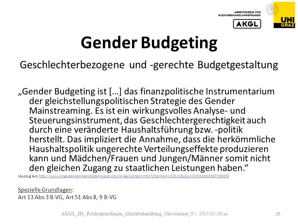 Gender Budgeting Geschlechterbezogene und -gerechte Budgetgestaltung Gender Budgeting ist […] das finanzpolitische Instrumentarium der gleichstellungspolitischen Strategie des Gender Mainstreaming.