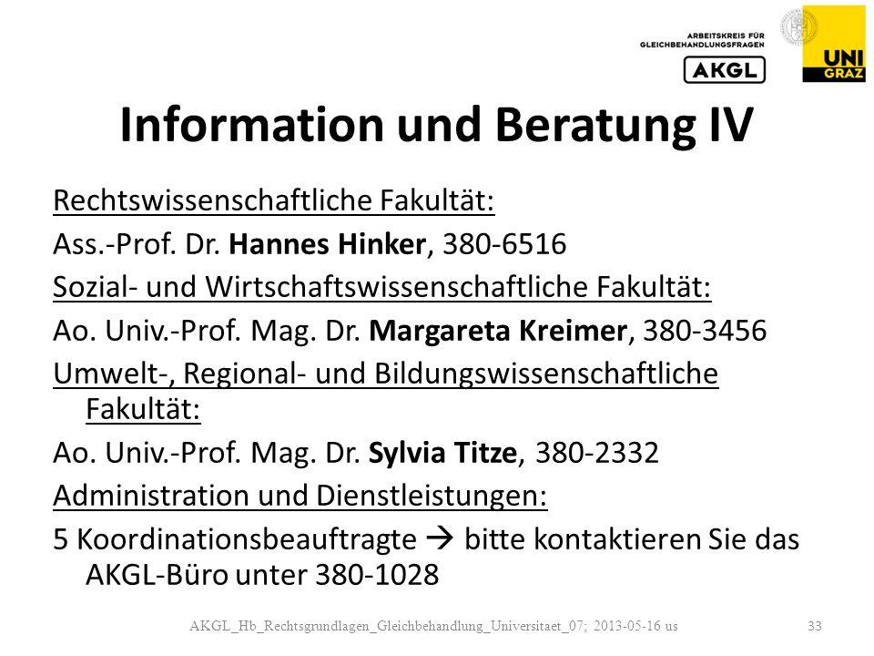 Information und Beratung IV Rechtswissenschaftliche Fakultät: Ass.-Prof.