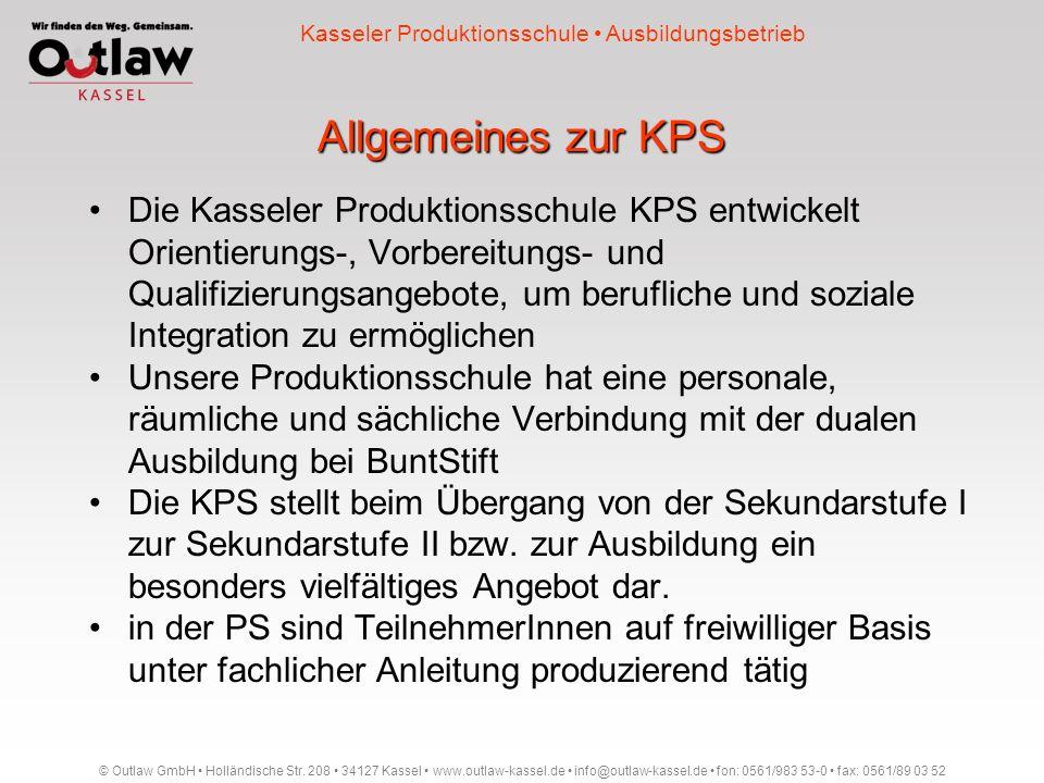 Allgemeines zur KPS Die Kasseler Produktionsschule KPS entwickelt Orientierungs-, Vorbereitungs- und Qualifizierungsangebote, um berufliche und sozial