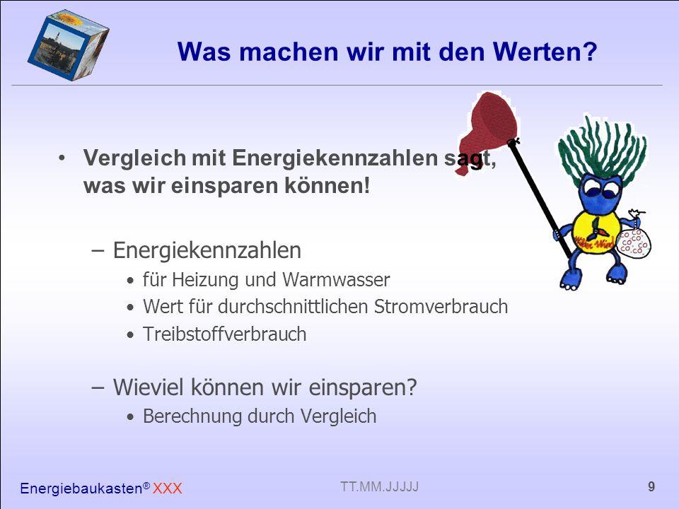 Energiebaukasten ® XXX 9TT.MM.JJJJJ Was machen wir mit den Werten? Vergleich mit Energiekennzahlen sagt, was wir einsparen können! –Energiekennzahlen