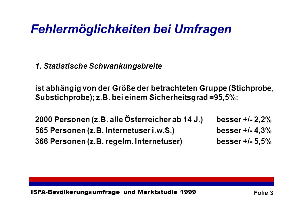 Folie 3 ISPA-Bevölkerungsumfrage und Marktstudie 1999 Fehlermöglichkeiten bei Umfragen 1.