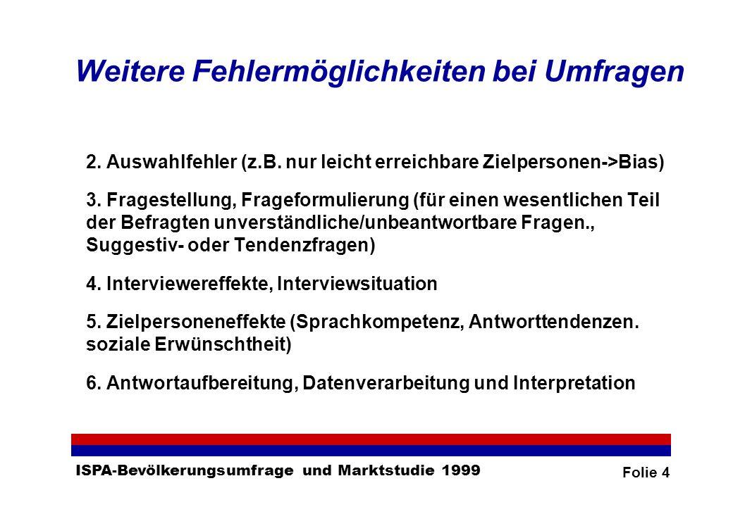Folie 4 ISPA-Bevölkerungsumfrage und Marktstudie 1999 Weitere Fehlermöglichkeiten bei Umfragen 2.