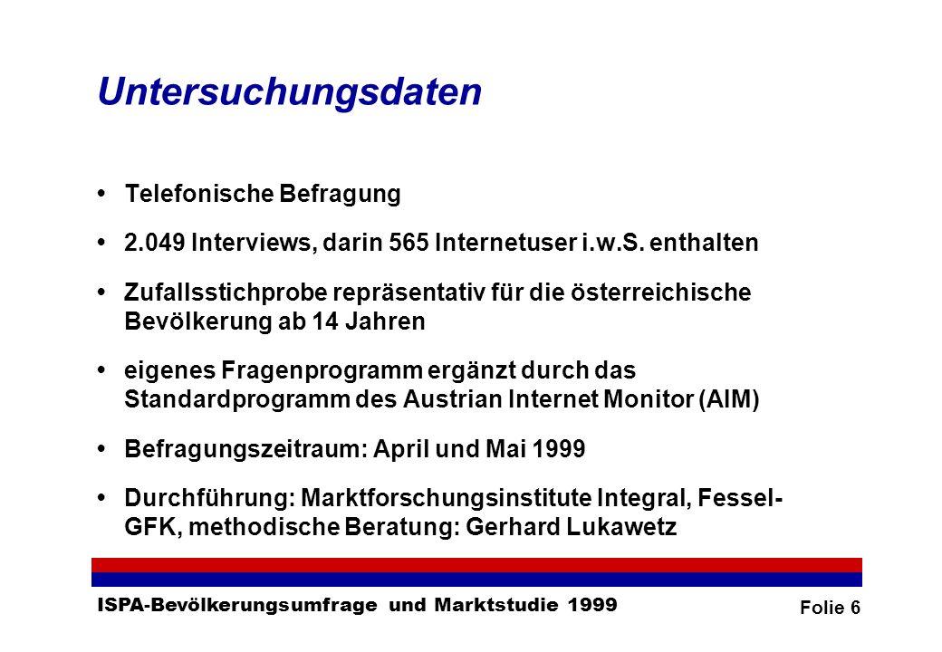 Folie 6 ISPA-Bevölkerungsumfrage und Marktstudie 1999 Untersuchungsdaten Telefonische Befragung 2.049 Interviews, darin 565 Internetuser i.w.S.