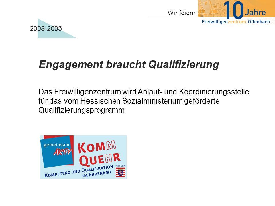 Wir feiern 2003-2005 Erste Projekte Hausaufgabenbetreuung in der Goetheschule Seniorencafe in der Wohnanlage Lämmerspieler Weg Wohnraumberaterteam in Kooperation mit der Stadt Offenbach EU-Projekt Teaming up Senioren hören Senioren