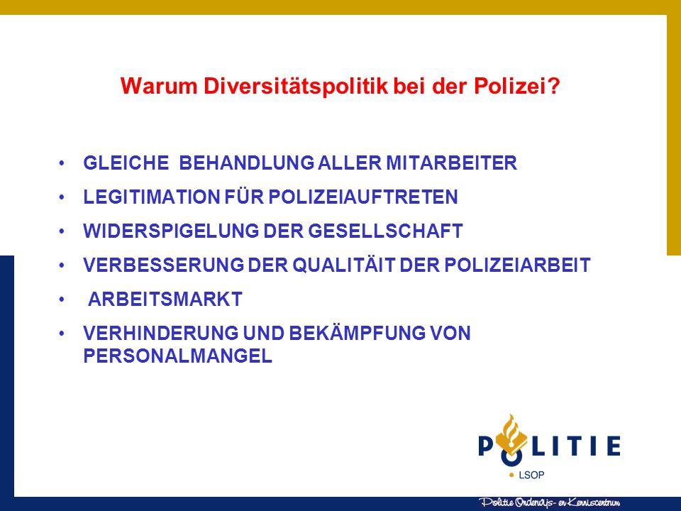 Warum Diversitätspolitik bei der Polizei? GLEICHE BEHANDLUNG ALLER MITARBEITER LEGITIMATION FÜR POLIZEIAUFTRETEN WIDERSPIGELUNG DER GESELLSCHAFT VERBE