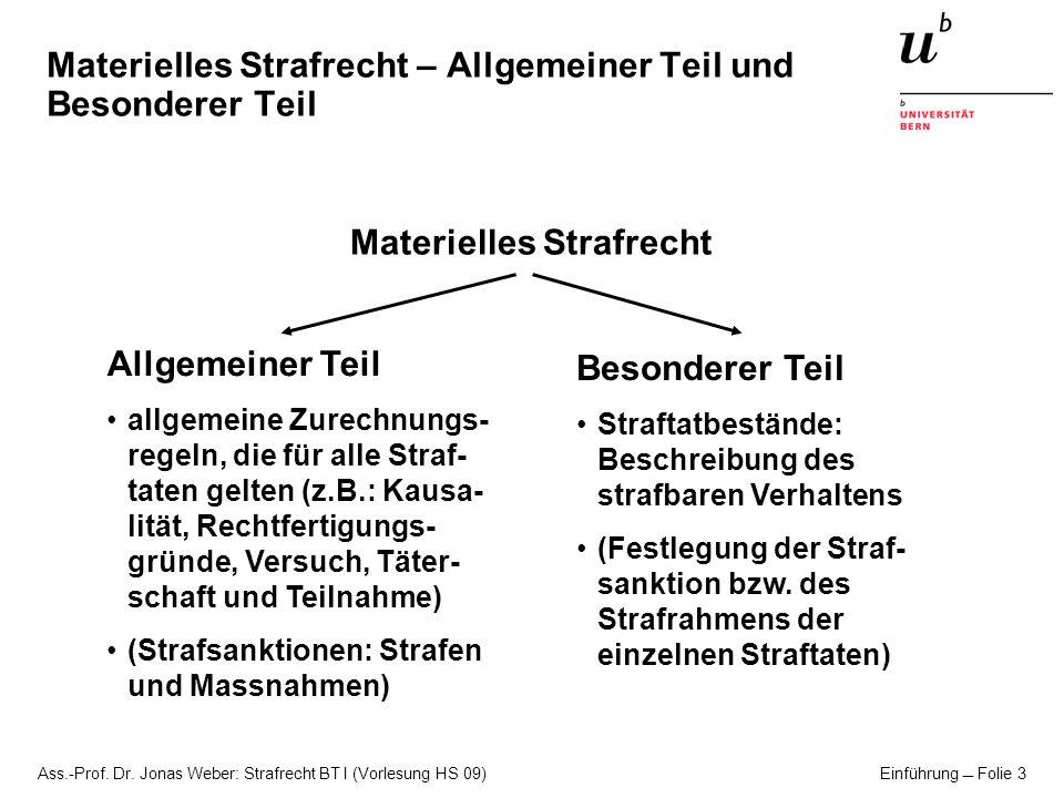Ass.-Prof. Dr. Jonas Weber: Strafrecht BT I (Vorlesung HS 09) Einführung Folie 3 Materielles Strafrecht – Allgemeiner Teil und Besonderer Teil Materie