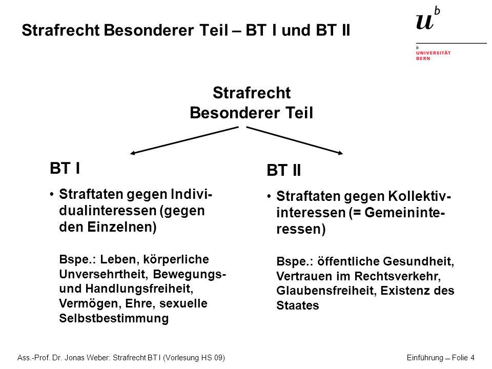 Ass.-Prof. Dr. Jonas Weber: Strafrecht BT I (Vorlesung HS 09) Einführung Folie 4 Strafrecht Besonderer Teil – BT I und BT II Strafrecht Besonderer Tei