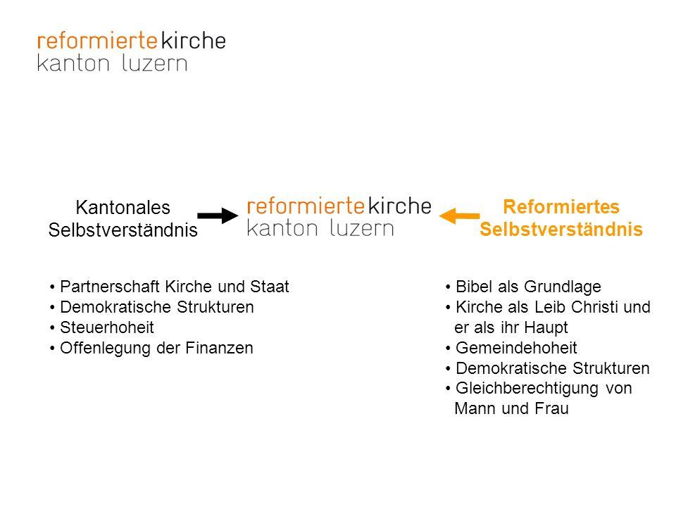 Partnerschaft Kirche und Staat Demokratische Strukturen Steuerhoheit Offenlegung der Finanzen Kantonales Selbstverständnis Reformiertes Selbstverständ