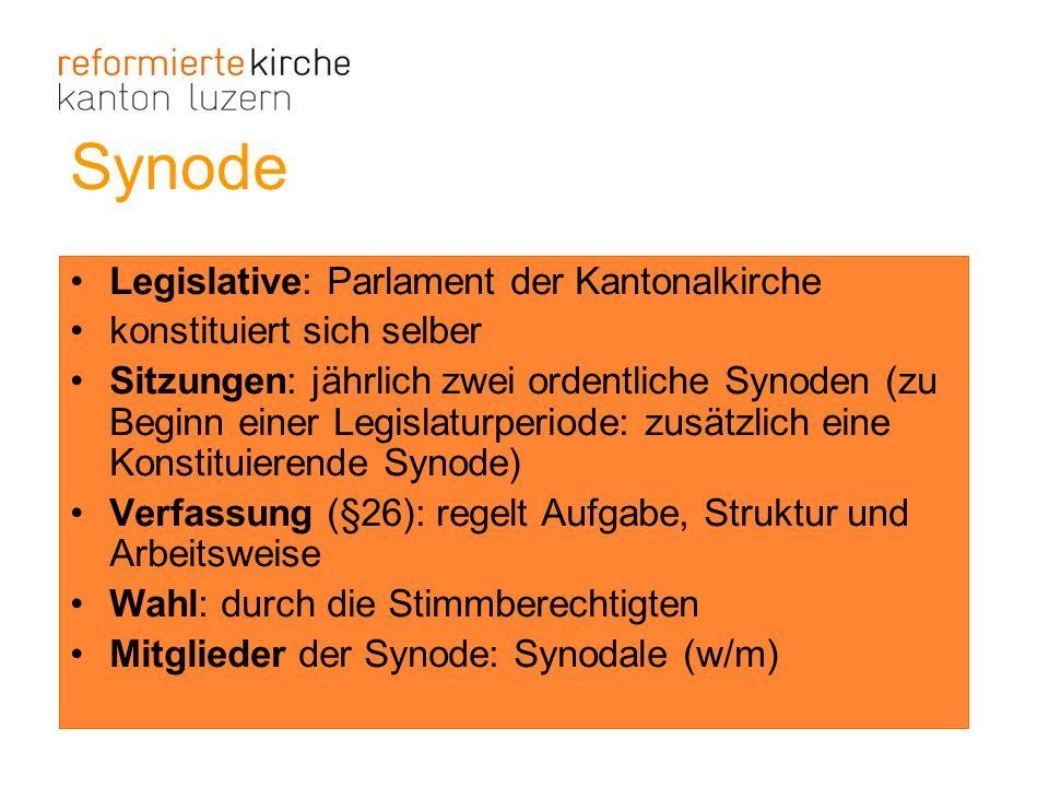 Synode Legislative: Parlament der Kantonalkirche konstituiert sich selber Sitzungen: jährlich zwei ordentliche Synoden (zu Beginn einer Legislaturperi