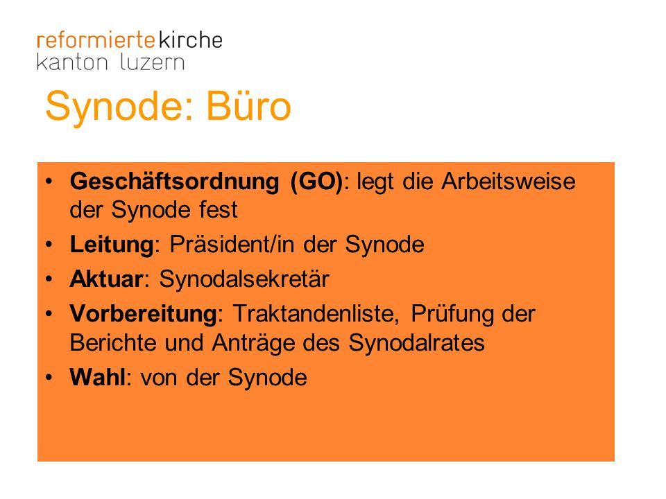 Synode: Büro Geschäftsordnung (GO): legt die Arbeitsweise der Synode fest Leitung: Präsident/in der Synode Aktuar: Synodalsekretär Vorbereitung: Trakt